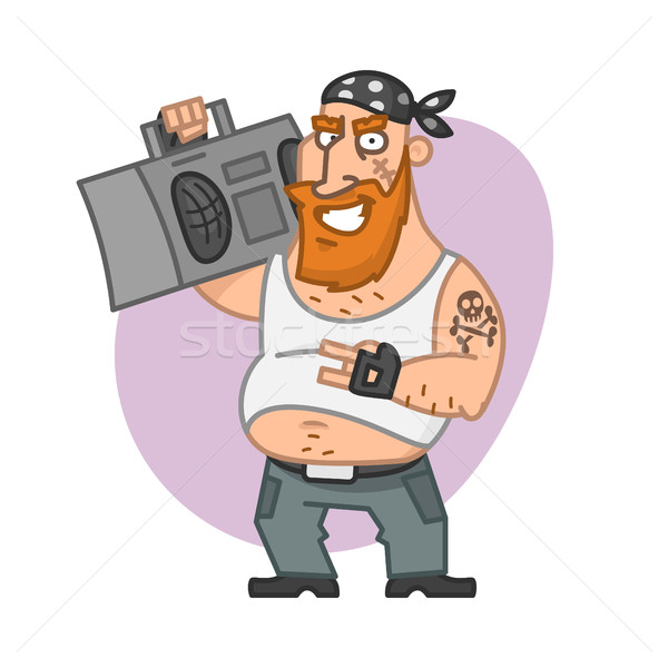 Biker man holding tape recorder and smiling Stock photo © yuriytsirkunov