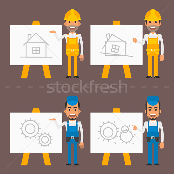 Builder and repairman indicate flip chart Stock photo © yuriytsirkunov