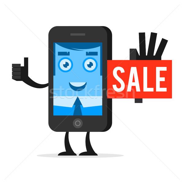 Character phone advertises sale Stock photo © yuriytsirkunov
