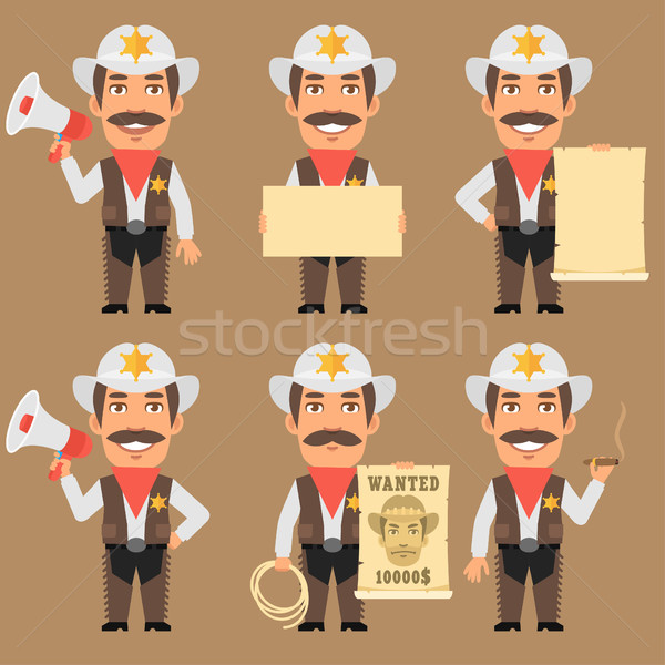 Sheriff Cowboy Holds Megaphone and Paper Stock photo © yuriytsirkunov