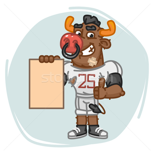 Bull Football Player Holds Paper and Shows Thumbs Up Stock photo © yuriytsirkunov