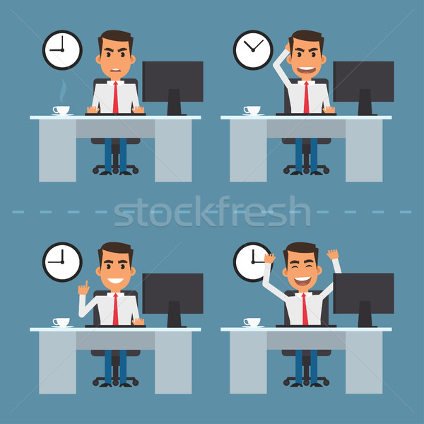 Man at table in different versions Stock photo © yuriytsirkunov