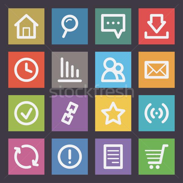 Интернет иконы иллюстрация формат прибыль на акцию 10 технологий Сток-фото © yuriytsirkunov