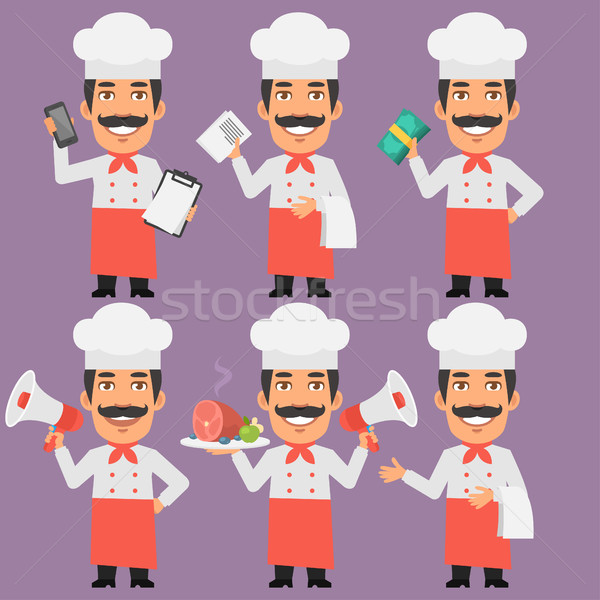 Chef Holds Money Phone and Megaphone Stock photo © yuriytsirkunov
