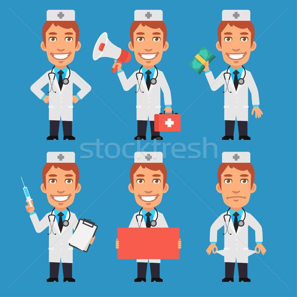 Foto stock: Médico · seringa · megafone · dinheiro · papel · formato