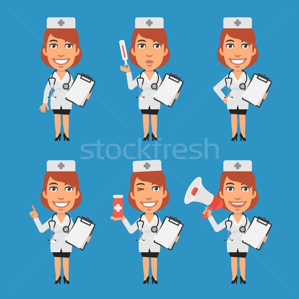 ストックフォト: 女性 · 医師 · ノートブック · タブレット · 計 · メガホン