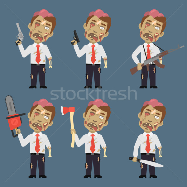 Zombie Holds Weapons Ax Machete Chainsaw Stock photo © yuriytsirkunov