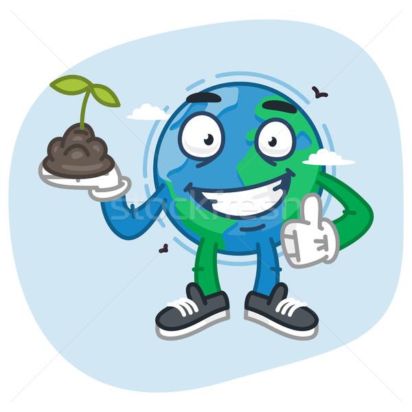 Earth Character Holds Handful of Earth Stock photo © yuriytsirkunov