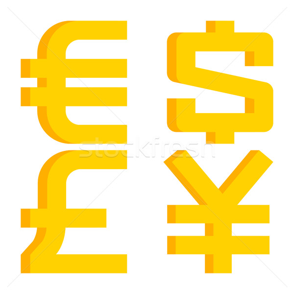 Moeda sinais euro dólar libra yen Foto stock © yuriytsirkunov