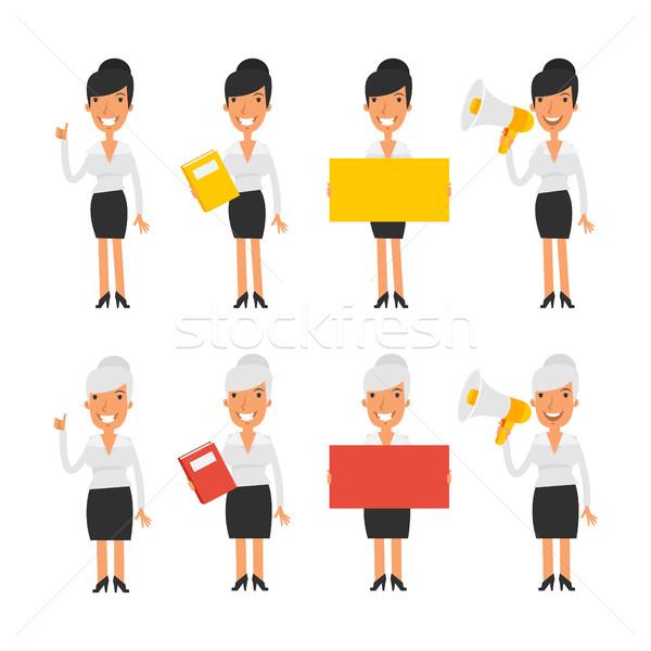Set characters business woman Stock photo © yuriytsirkunov