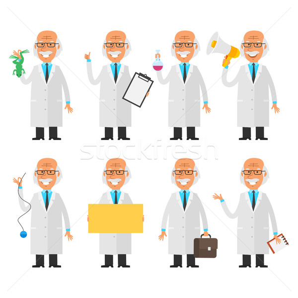 Set characters old scientist Stock photo © yuriytsirkunov