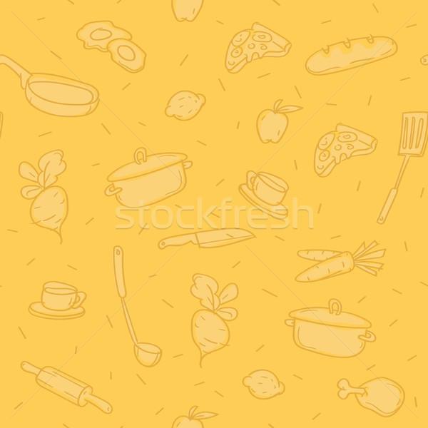 Pattern background various kitchen objects Stock photo © yuriytsirkunov