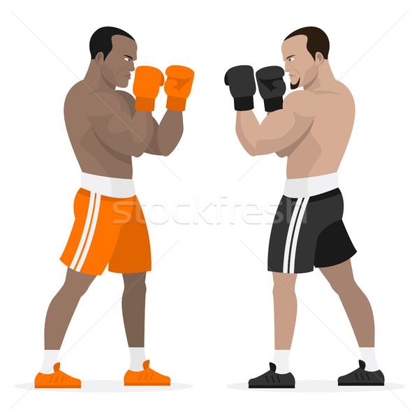 Fekete sportolók boxeralsó áll fogas illusztráció Stock fotó © yuriytsirkunov