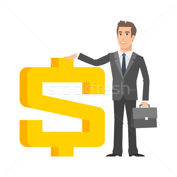 Businessman standing near with dollar sign Stock photo © yuriytsirkunov