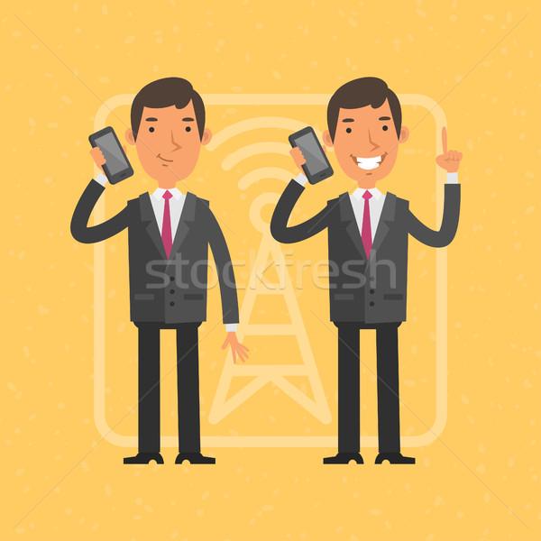 Empresário falante telefone móvel ilustração formato eps Foto stock © yuriytsirkunov