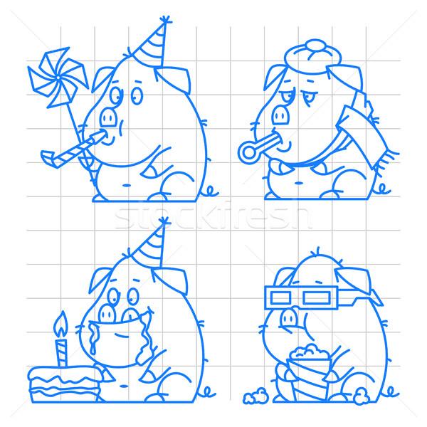 Suino carattere doodle set illustrazione formato Foto d'archivio © yuriytsirkunov