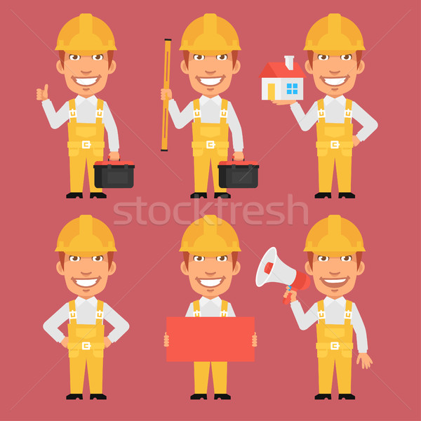 Builder Holds Tools Megaphone Poster Level Stock photo © yuriytsirkunov