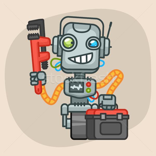 Robot Holds Suitcase and Pipe Wrench Stock photo © yuriytsirkunov