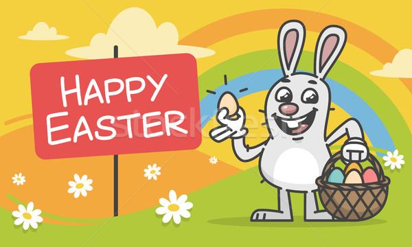 Easter Bunny mascotte karakter bloemen Stockfoto © yuriytsirkunov