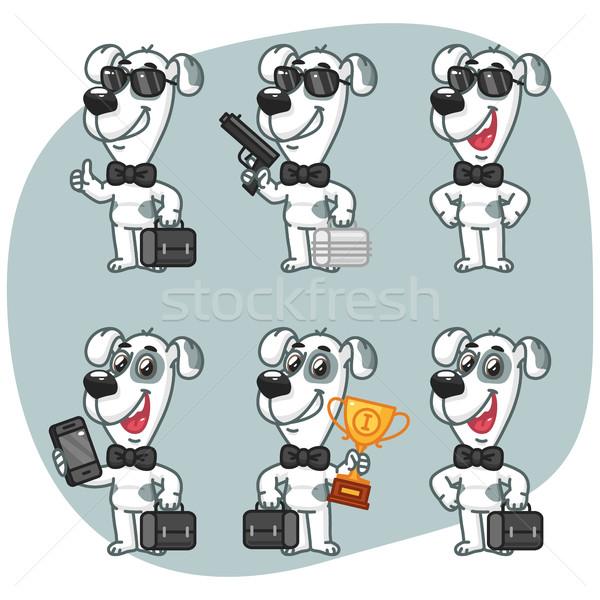 Set Characters Dog Businessman Holding Suitcase Cup Phone Gun Stock photo © yuriytsirkunov