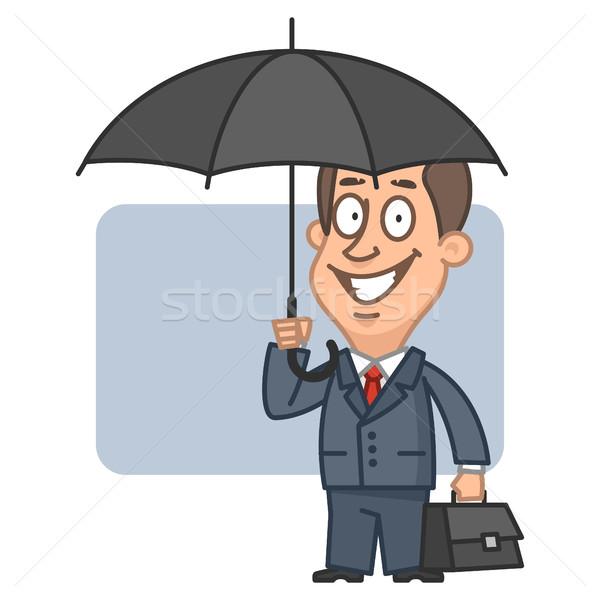 Empresário guarda-chuva mala ilustração formato Foto stock © yuriytsirkunov