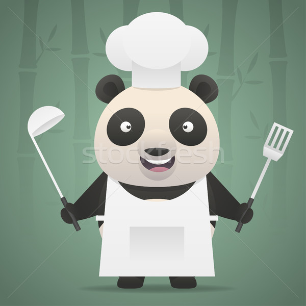 Panda chef holds soup ladle and shovel Stock photo © yuriytsirkunov
