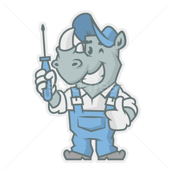 Rhinoceros character holding screwdriver Stock photo © yuriytsirkunov