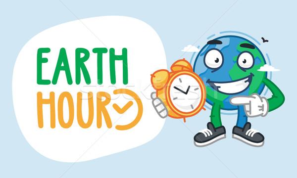 Aarde uur karakter klok mascotte Stockfoto © yuriytsirkunov