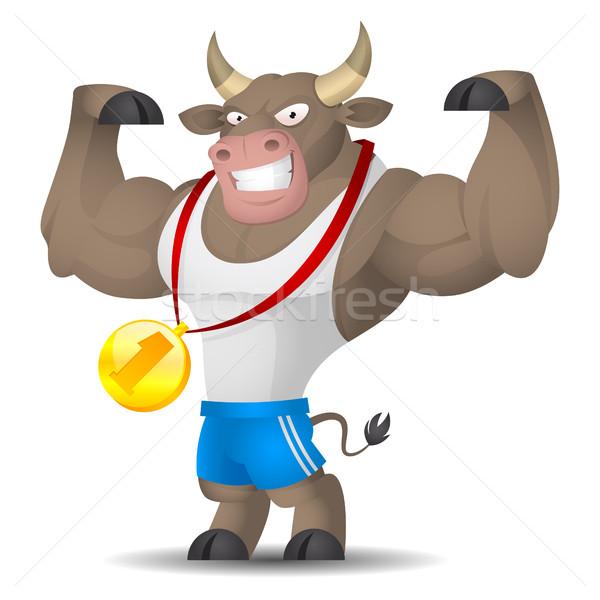 Bull athlete shows muscles Stock photo © yuriytsirkunov