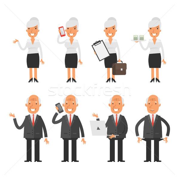 Ingesteld oude zakenvrouw zakenman formaat Stockfoto © yuriytsirkunov