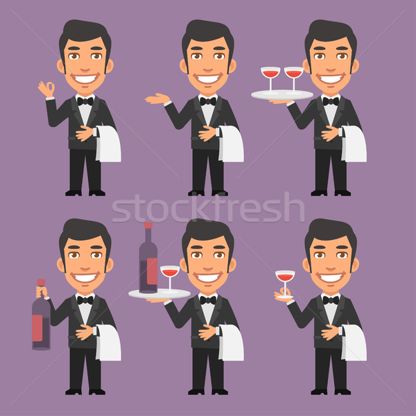 Waiter Holds Wine and Towel Stock photo © yuriytsirkunov