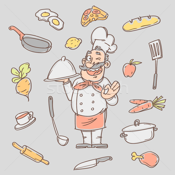 Drawing sketch cook and various kitchen objects Stock photo © yuriytsirkunov
