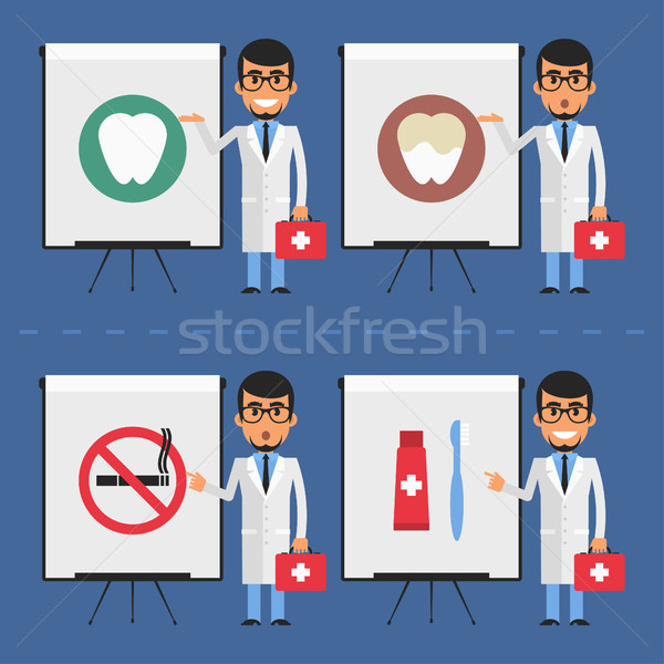 Stomatologist indicates on flip chart Stock photo © yuriytsirkunov