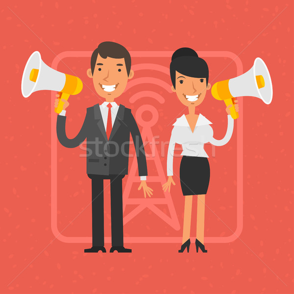 Businessman and businesswoman holding megaphone and smile Stock photo © yuriytsirkunov