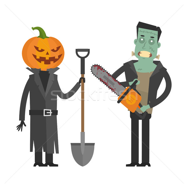 Characters Pumpkin and Frankenstein Stock photo © yuriytsirkunov