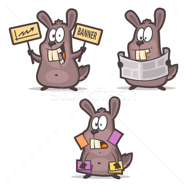Rabbit business cards newspaper advertisement Stock photo © yuriytsirkunov