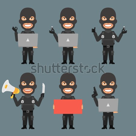 Terrorist in different poses Stock photo © yuriytsirkunov