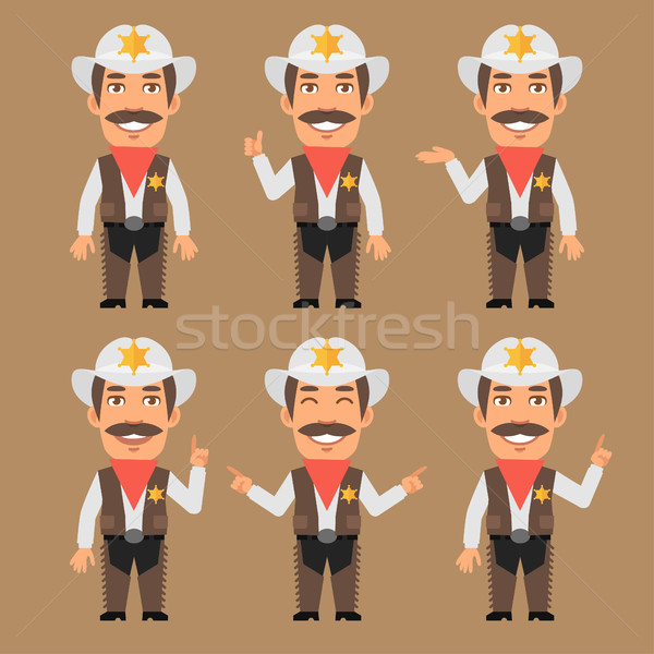 Sheriff Cowboy Indicates and Shows Stock photo © yuriytsirkunov