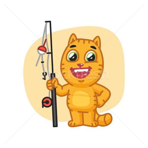 Kot szczęśliwy wędka format eps Zdjęcia stock © yuriytsirkunov