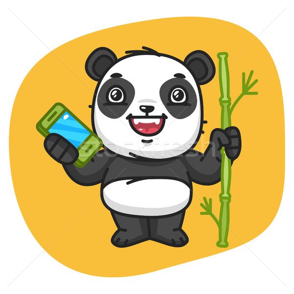 Panda Holds Bamboo and Phone Stock photo © yuriytsirkunov