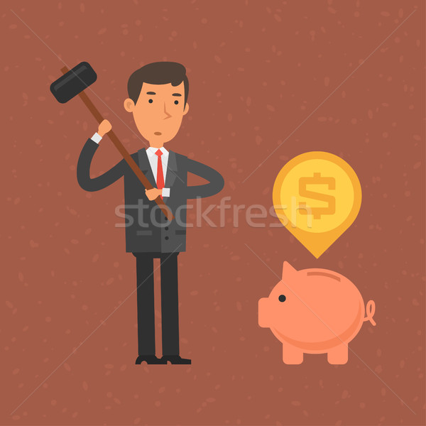 Businessman wants break piggy bank hammer Stock photo © yuriytsirkunov
