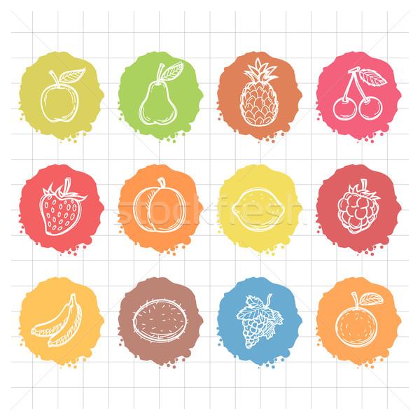 Firka rajzolt ikonok gyümölcsök illusztráció formátum Stock fotó © yuriytsirkunov