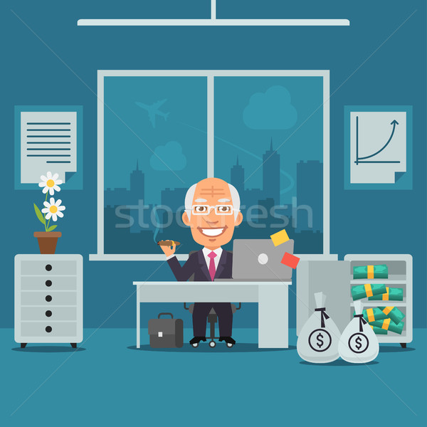 Old Businesswoman Sitting in Office and Rejoices Monetary Gain Stock photo © yuriytsirkunov