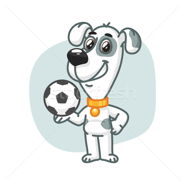 Stock photo: Dog Holding Football Ball and Smiling