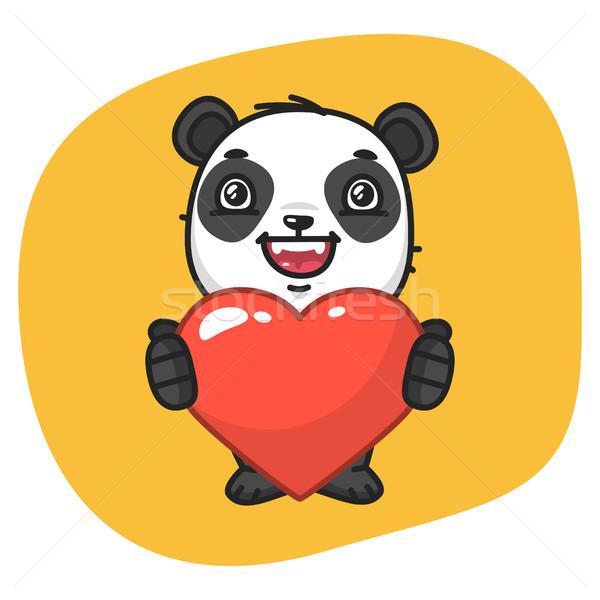 Panda Holds Heart Symbol Stock photo © yuriytsirkunov