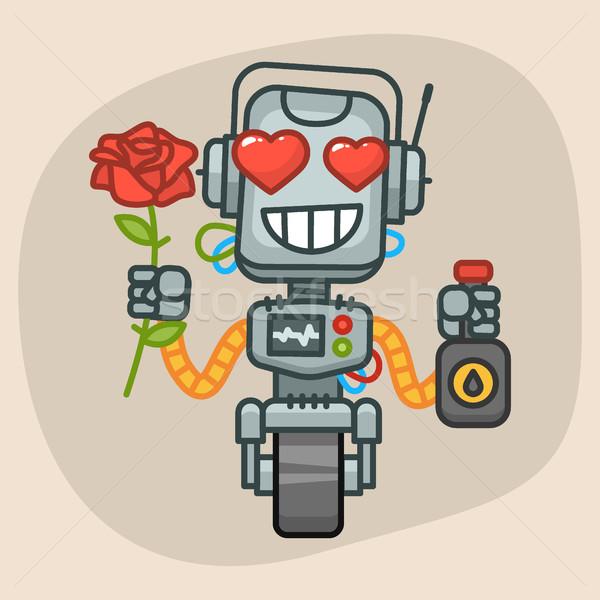 Robot Holds Oil and Rose Flower Stock photo © yuriytsirkunov