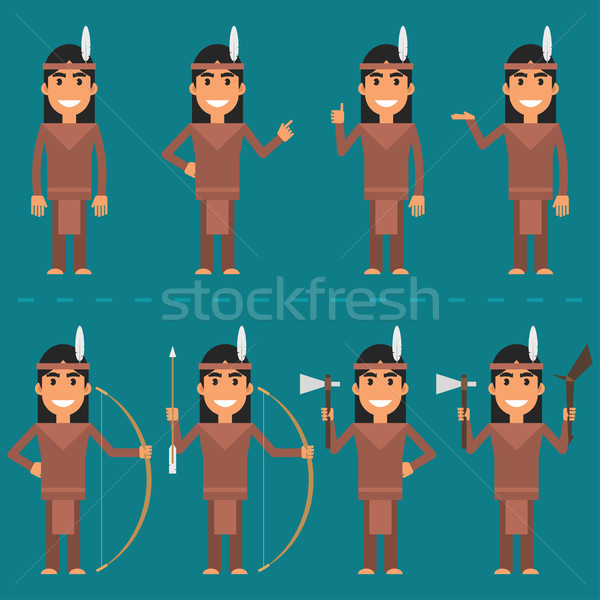 Characters Indian in various poses Stock photo © yuriytsirkunov