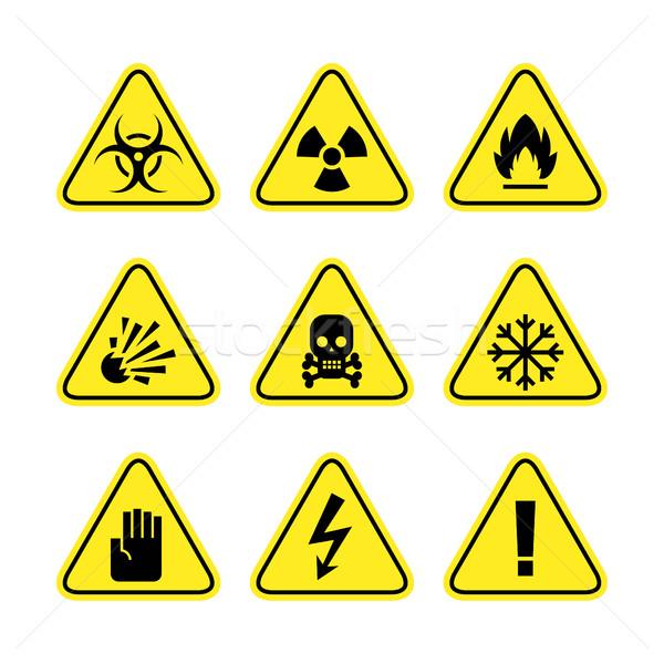 Figyelmeztetés feliratok veszély illusztráció formátum eps Stock fotó © yuriytsirkunov