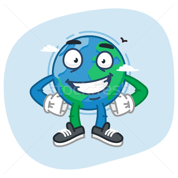 Character Earth Keeps Hands on Waist Stock photo © yuriytsirkunov
