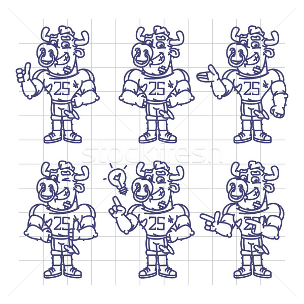 Sketch Character Set Bull Football Player Shows and Points Stock photo © yuriytsirkunov